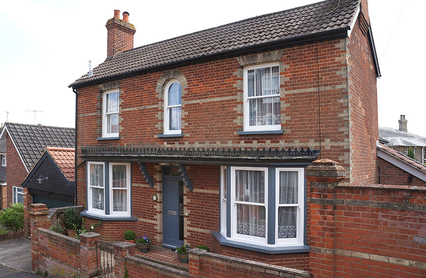 Victorian house in Woodbridge with traditional sash windows and contemporary entrance door