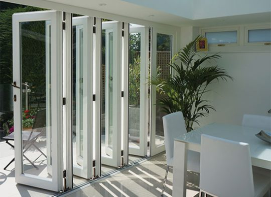 BF Redwood bifolding doors in RAL     white