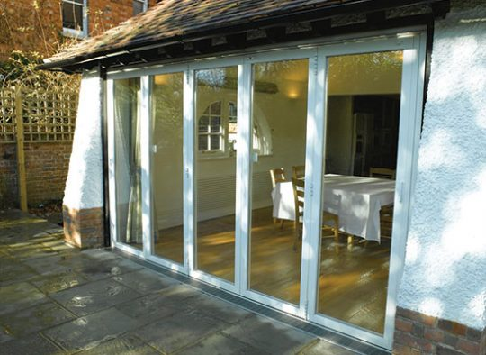 E Five panel Sunflex aluminium bifolding door with colour matched hinges and handles