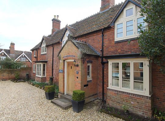 FC Cottage style redwood windows in Farrow and Ball off white