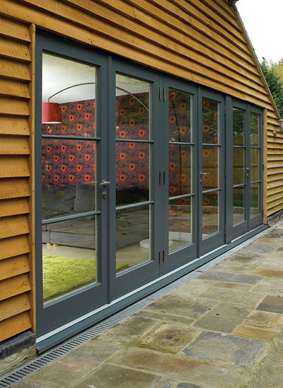 FD Contemporary style timber French doors in Urbane grey